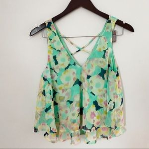 Lush Green Floral Sleeveless Cropped Ruffle Top